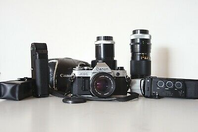 Canon AE-1 vintage 35mm film camera w/ lenses, power winder and data back TESTED