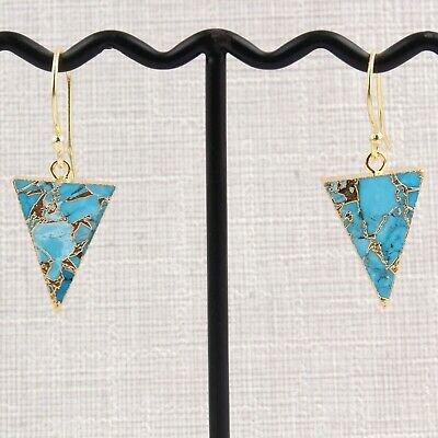 Sky Blue Copper Turquoise Gold Plated DIY Drop Dangle Earrings Jewelry For Women