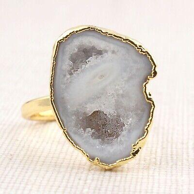 Stylish Real Of White Geode Druzy Gold Plated Gemstone Adjustable Handmade Rings