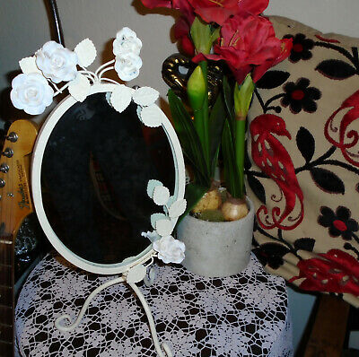 Delightful Decorative Mirror- Sturdy-Pretty Roses/Leaves-Very Nice Shabby Chic