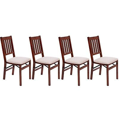 2 Folding Dining Chairs Arts & Crafts Mahogany Solid Hardwood Foldable Fold Away