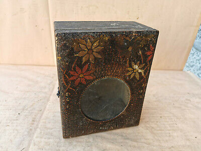 Antique Primitive Old Hand Painted Wooden Wall Hanging Clock Box