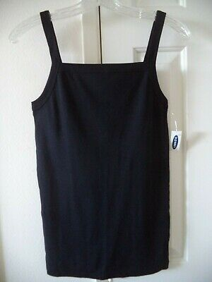 Old Navy Black Square Neck WideStrap Fitted Rib Knit Tank Top Cami 2X 18 20 XXL