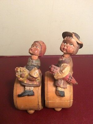 Antique German Collectible Hand Carved Wood Boy & Girl Child's Napkin Ring 1930