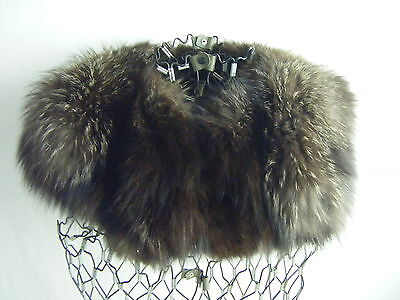 "Vtg Silver Black Fox Fur Wide Collar w/black Wool Lined- 34.5"" long"