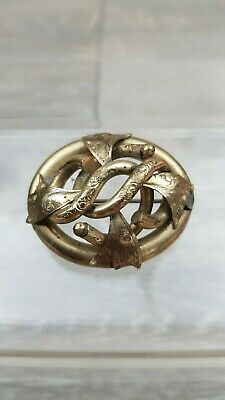 Large Antique Victorian Pinchbeck Ornate Etched Entwined Statement Brooch