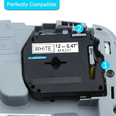 MK231 Compatible For Brother P-touch Label Tape Cassette 12mm Ribbon Replacement