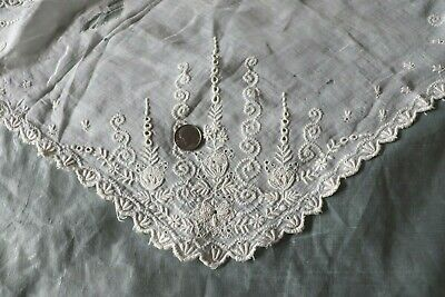 """French Antique 19thC Hand Embroidered Bridal Handkerchief~15""""Sq~Distressed~Dolls"""