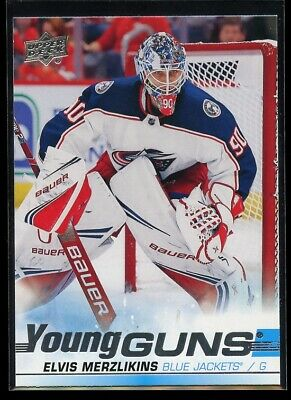 2019-20 Upper Deck Series 2 Elvis Merzlikins Young Guns Columbus Blue Jackets Rc