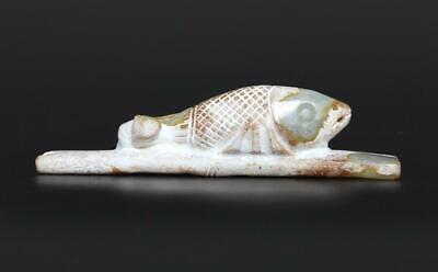Old Antique Chinese Carved Natural Jade Pendant Pen Holder with fish