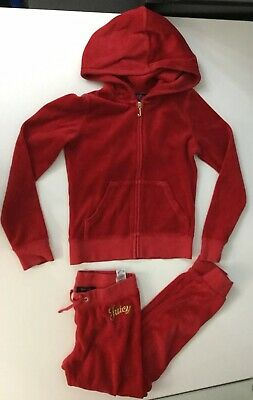 Juicy Couture Girls Tracksit Set Age 8 Years Jacket Bottoms Red Velour Gold