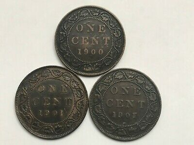 1900 (no H), 1901 & 1907H Canadian Large Cents