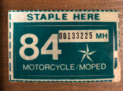 1984 Texas Motorcycle Moped Scooter License Plate Sticker New Unused