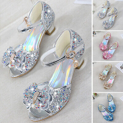 Children Girls Casual Sandals Pageant Metal Buckle Shiny Non Skid Party Shoes