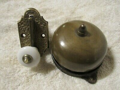 Antique Cast Iron Brass / Porcelain Door Bell Old Victorian Hardware  Dated 1872