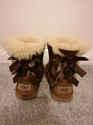 Chestnut Ugg Boots Bailey Bow Chestnut Kids Child Size Uk10