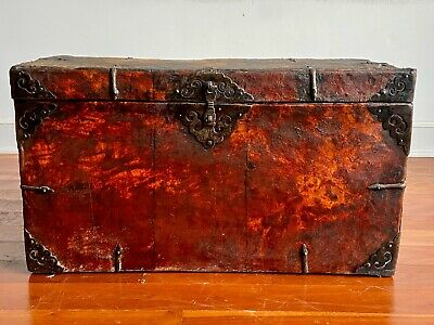Large Antique Tibetan Chest / Trunk - leather-coated solid wood, brass fittings