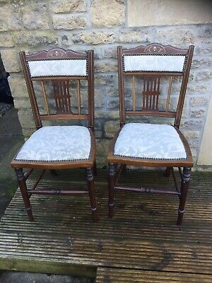 Pair Of Antique Edwardian Mahogany Dining Chairs Occasional Chairs Inlaid