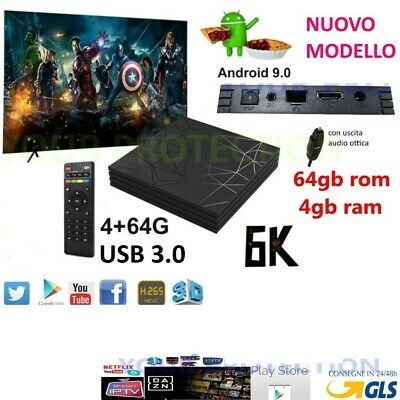 Smart Tv Box Q6 Plus 6K Max  Ram 4Gb 64Gb Android 9.0 4K Wi-Fi 4 Core Netflix