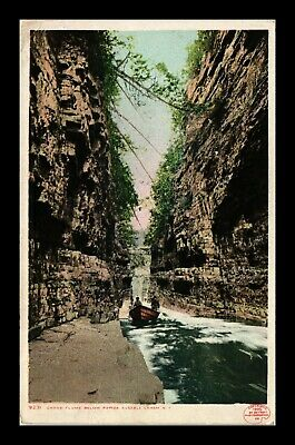 Dr Jim Stamps Us Grand Flume Boat Ausable Chasm New York Postcard 1909