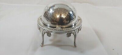 A Beautiful Antique silver plated Roll Top Butter Dish.elegant Patterns.1930,s.