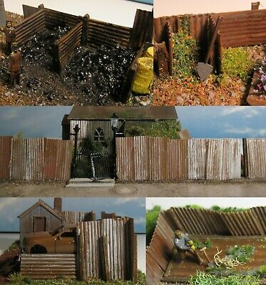 Corrugated iron panels - rusty and weathered (20) - OO/HO Gauge 1:76 scale