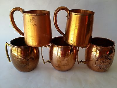5 Moscow Mule Cups  Mugs Reed's Jamaican Ginger Brew West Bend Solid Copper