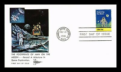 Dr Jim Stamps Us Footprints Of Man On Moon Space Gill Craft First Day Cover