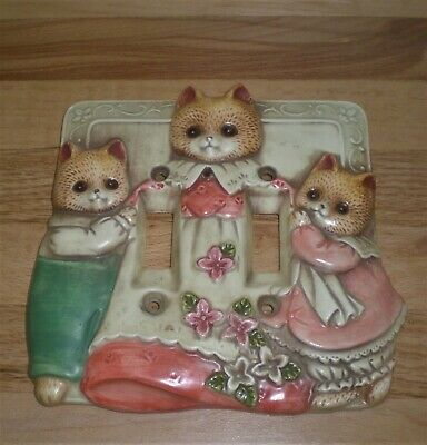 **Vtg Takahashi Ceramic Double Light Switch Wall Plate Cover 3 Cats**Japan