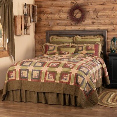 COUNTRY PRIMITIVE FARMHOUSE RUSTIC TEA CABIN PATCHWORK SHOWER CURTAIN VHC BRANDS