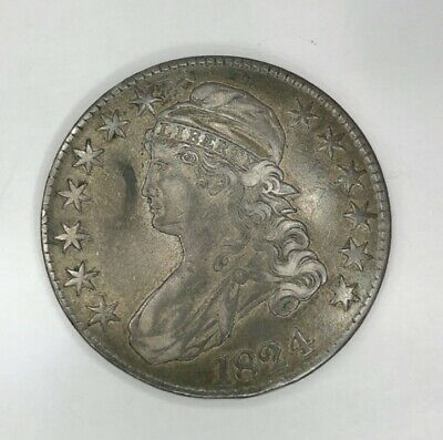 1824 Silver Capped Bust Liberty Half Dollar 50c US Coin Item #21644