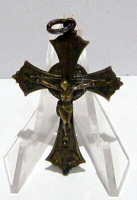 OUTSTANDING VINTAGE BRASS CROSS WITH CRUCIFIXION,EARLY 20th. Century !!! # 5C