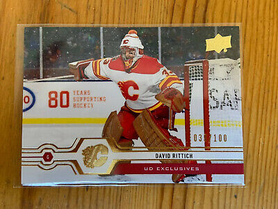 2019-20 Upper Deck Series 2 UD Exclusives David Rittich 39/100 Calgary Flames