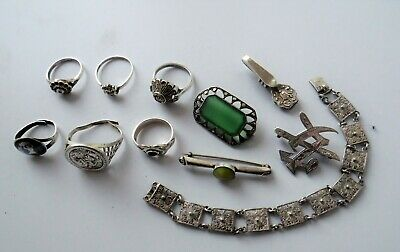 Antique & Vintage 925 Solid Silver Rings Brooches And Braclet  - Scrap / Wear