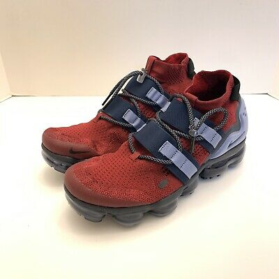Nike Air VaporMax Flyknit Utility Red Obsidian Mens Size 7.5 AH6834-600 New