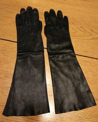"""14"""" Long Black Leather OPERA GLOVES Made In Italy Size 7 ~ Vtg Unlined Soft"""