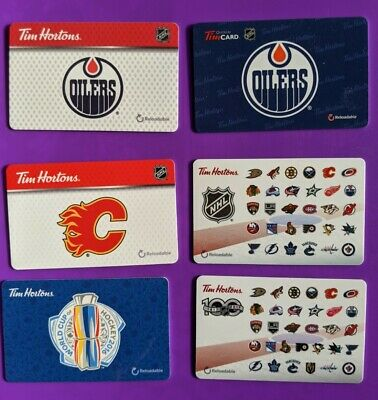 Lot of 6 Different NHL Tim Hortons Gift Cards - Oilers / Flames / World Cup