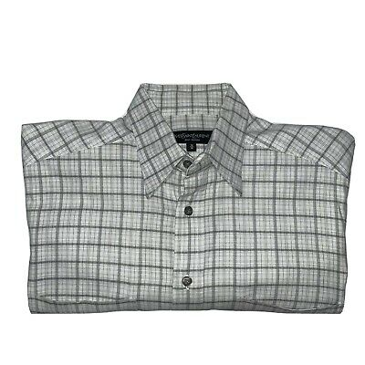 Yves Saint Laurent Men's Gray/White Plaid Button Down Shirt Size Medium