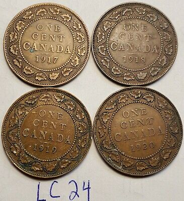 1917,1918,1919,1920  Canada Large Cent Penny King George V Lot of 4 Coins LC24c
