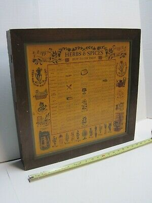 Vintage Herbs & Spices Wooden Spice Rack Wall Closet Three Mountaineers 1964 art