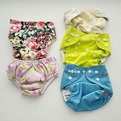 4 Reusable Diapers+ 1 Swim Diaper Adjustable Lot Baby Washable Cloth Ava Baby...