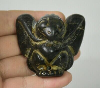 "2.2"" Chinese hongshan culture Old jade (black magnet) eagle Bird Statue Pendant"