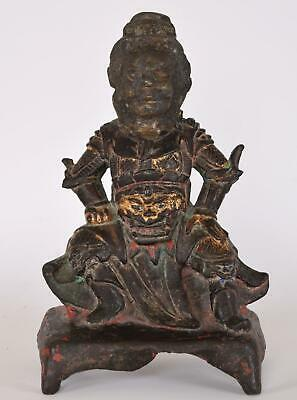 Bronze Figure of Zhenwu Ming Dynasty Chinese Xuanwu Trace Gold and Red Lacquer