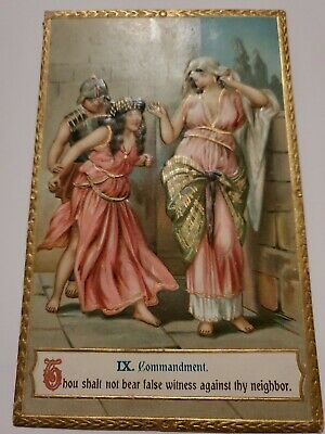 Antique Victorian Postcard  Early 1911 9th Commandment Gold Embossed Rare