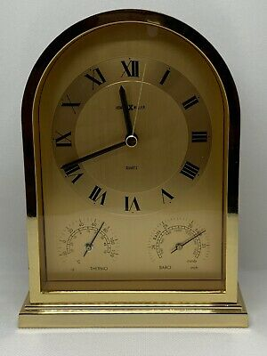 Howard Miller Mantle Brass Clock with Thermometer And Barometer