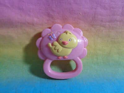 Small Pink Plastic Baby Rattle with Yellow Bird