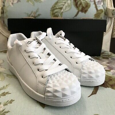 NIB ASH Crack Lace Up Shoes White Nappa Calf Leather Sneaker Women Size 36 US 6