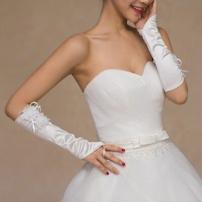 Womens Elbow Length Bridal Long Fingerless Gloves Lace Flower Wedding Prom Party