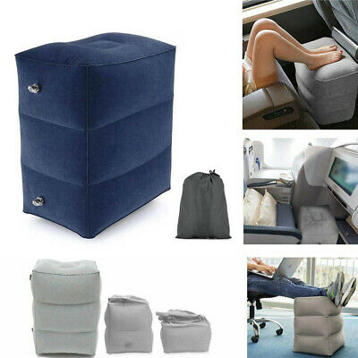 UK Inflatable Portable Foot Rest Travel Footrest Pillow Plane Office Cushion Pad