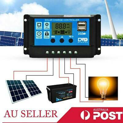 30A PWM Solar Panel  12V/24V Battery Regulator Charge Controller LCD Display USB